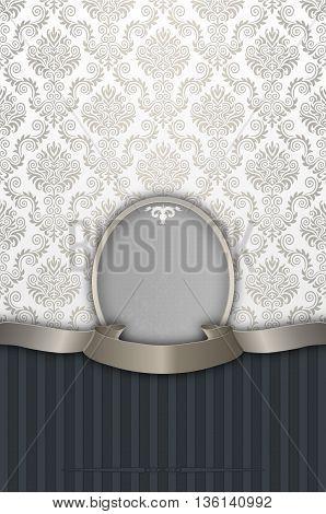 Decorative vintage background with elegant ribbondecorative frame and old-fashioned patterns.