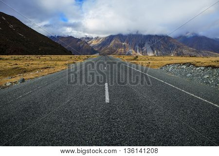 highway to aoraki mt.cook national park south island new zealand important traveling destination