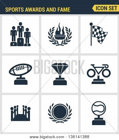 Icons set premium quality of awards and fame emblem sport victory honor. Modern pictogram collection flat design style symbol collection. Isolated white background.