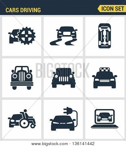 Icons set premium quality of cars driving transportation transport car automobile. Modern pictogram collection flat design style symbol collection. Isolated white background.