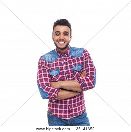 Casual Man Happy Smile Young Handsome Guy Folded Hands Wear Checked Shirt Isolated White Background
