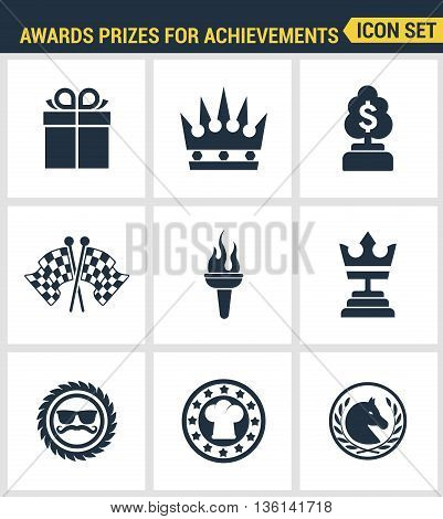 Icons set premium quality of awards prizes for achievements element honor reward. Modern pictogram collection flat design style symbol collection. Isolated white background.