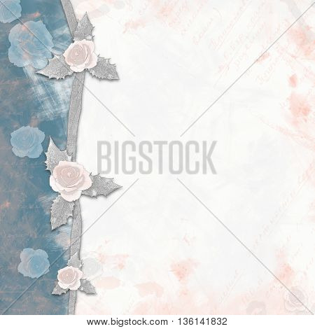 Abstract Background With Roses Painted