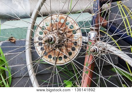 old wheel from the bike, grunge dirty