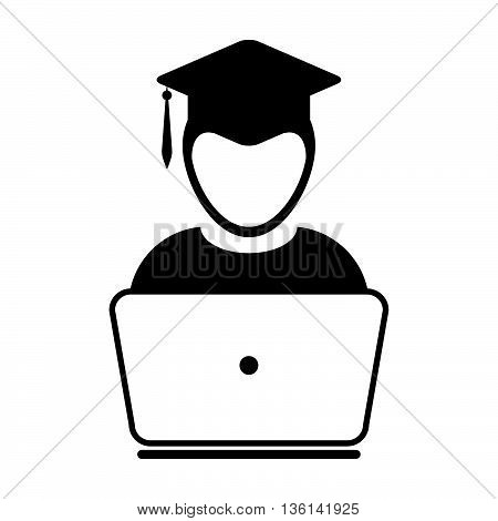 Student Icon With Laptop Computer - Online Graduation, Academic, Education, Degree Icon In Glyph Vec