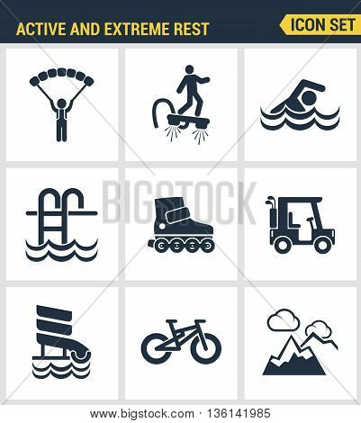 Icons set premium quality of active and extreme rest holiday weekend sports hobby life style. Modern pictogram collection flat design style symbol collection. Isolated white background.