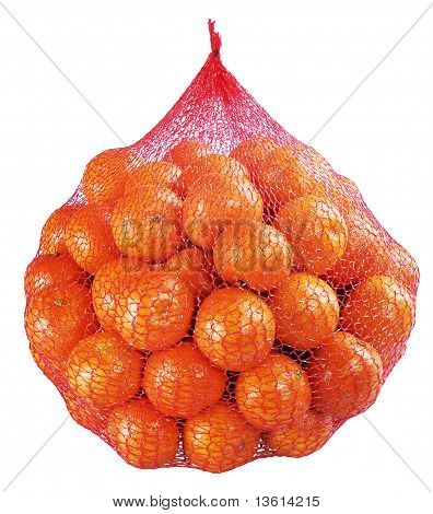 Tangerines, Clementines Bag On White