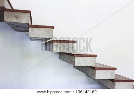 Staircase On White Mortar Wall
