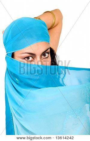 beautiful arabic belly dancer isolated over a white background