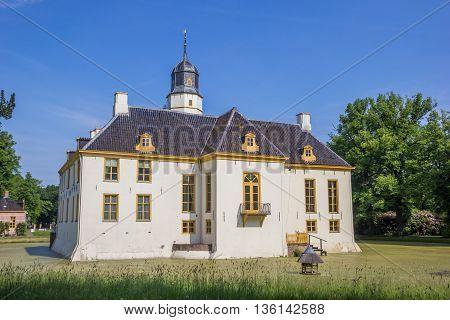 SLOCHTEREN, NETHERLANDS - JUNE 3, 2016: Back of the old dutch mansion Fraeylemaborg in Slochteren, Netherlands