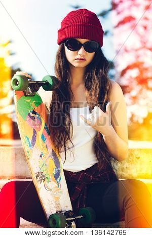 Skater girl with light leaks