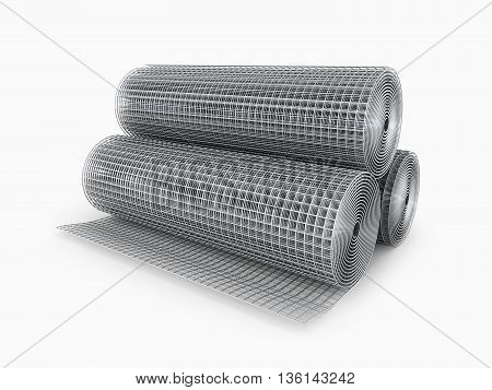 Galvanized welded wire mesh twisted into a roll on a white background. 3D illustration