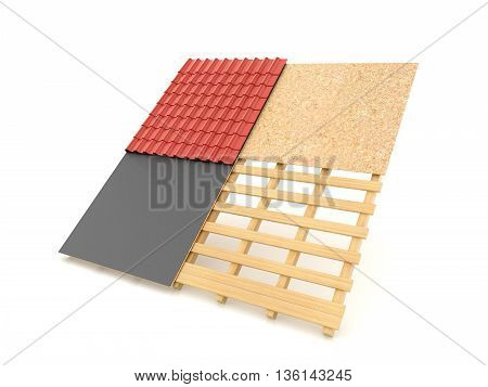 Technology roofing tile roof on a white background. 3d illustration