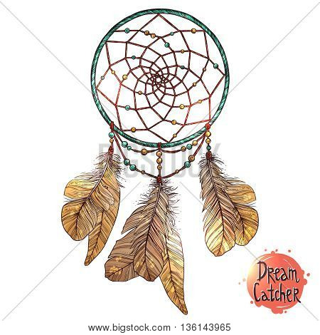Dream Catcher Native American Symbol. Hand Drawn Colorful Illustration