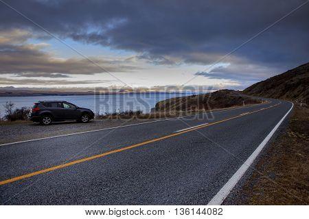 beautiful scenic of pukaki lake and road to aoraki - mt.cook national park new zealand