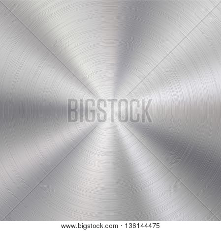 Abstract technology background with polished, brushed circular metal texture, chrome, silver, steel, aluminum for design concepts, web, prints, posters, interfaces. Vector illustration.