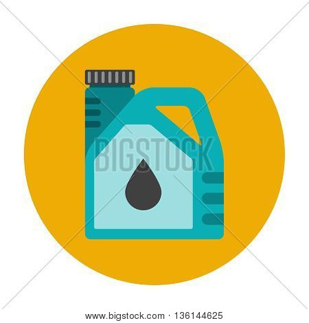 Engine oil flat icon. Plactic canister with car motor oil