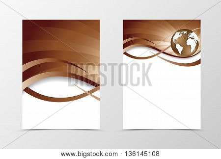 Flyer template vortex design. Abstract flyer template in coffee with milk colors with globe. Swirl wave spectrum flyer design. Vector illustration