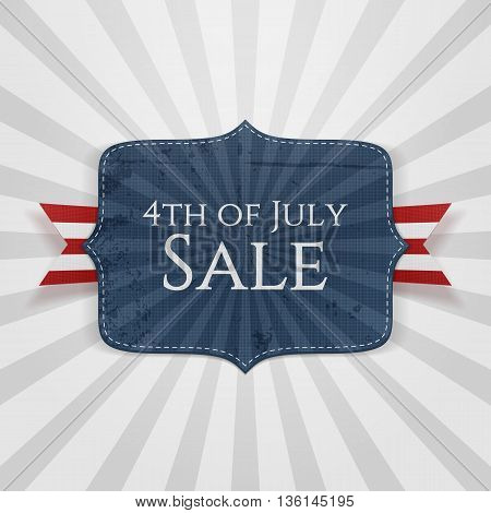 4th of July Sale realistic Badge. Vector Illustration