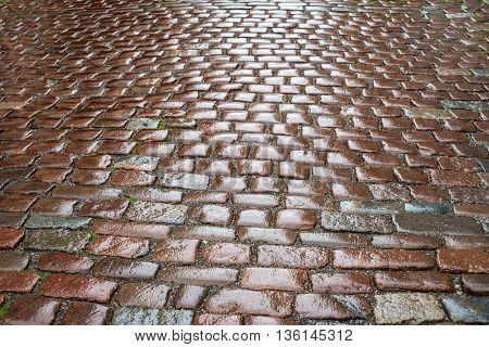 Wet cobblestones after rain pavement background. Selective focus