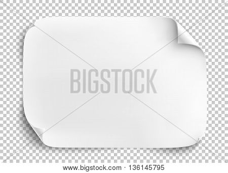White sheet of paper on transparent background. Vector illustration.