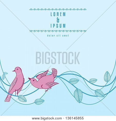 Background with birds. Abstract Nature design with two birds and leaves on wavy branches. Copy space. Vector illustration.