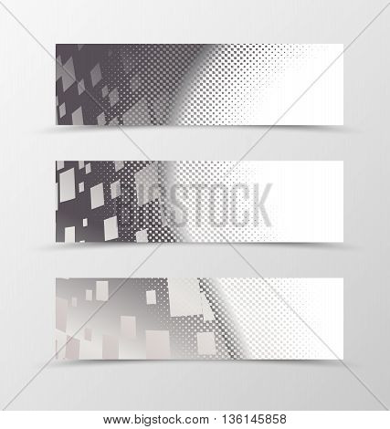Set of banner wave design. Banner for header with halftone effect and digital rectangle background. Design of banner in geometric style. Vector illustration