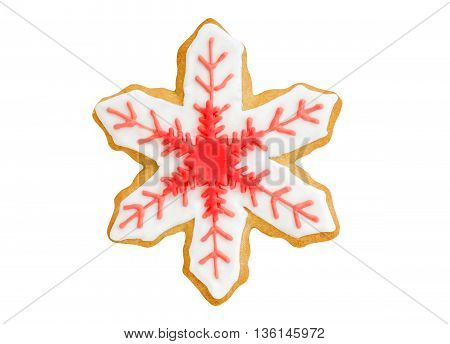 christmas cookie red snowflake isolated on white background