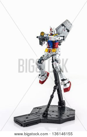 BANGKOK THAILAND - October 10 2015: Gundam RX-78-2 MASTER GRADE model 1/100. Gundam plastic model from Sunrise's anime series Mobile Suit Gundam.