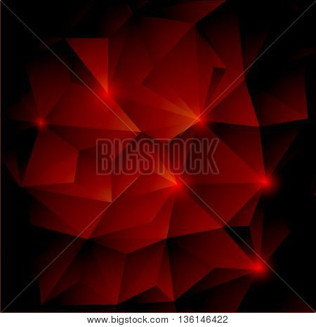 Red and black abstract hexagon background for your design.