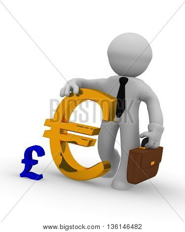 Businessman with a big golden Euro signand a small pound icon 3d rendering