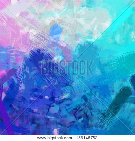 2D illustration of an abstract pink and turquoise brush strokes background