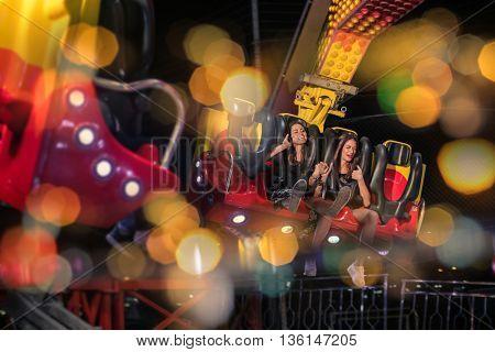 Girls at the fun fair