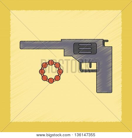 flat shading style icon Kids toy pistol