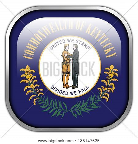 Flag Of Kentucky State, Square Glossy Button
