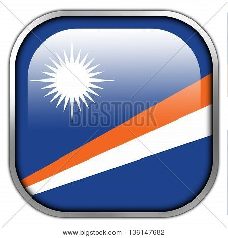 Flag Of Marshall Islands, Square Glossy Button