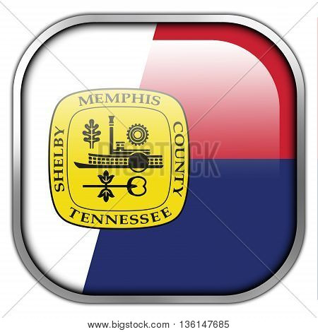Flag Of Memphis, Tennessee, Square Glossy Button