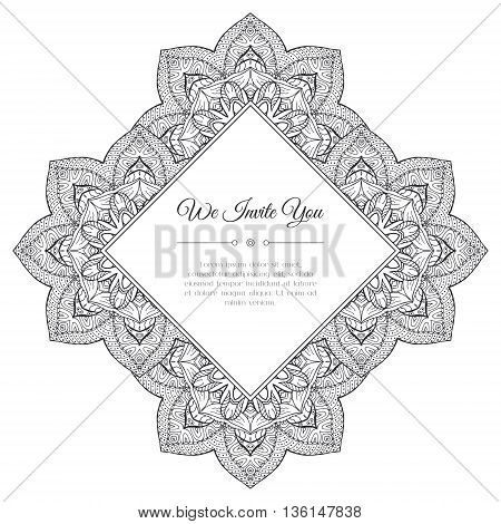 Black and white hand drawn doodle frame. Abstract floral zentangle background. Good for cards invitations wedding t-shirt brochure flyer calendar. Monochrome coloring page. Vector illustration.