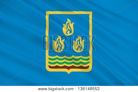 Flag of Baku is the capital and largest city of Azerbaijan as well as the largest city on the Caspian Sea and of the Caucasus region. 3D illustration