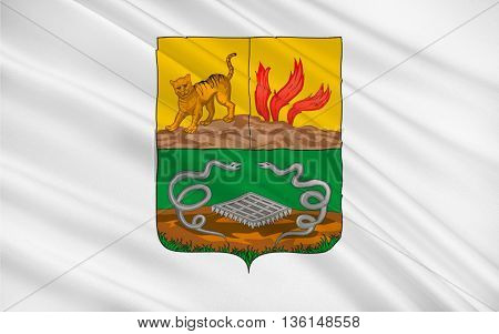 Flag of Lankaran is a city in Azerbaijan on the coast of the Caspian Sea near the southern border with Iran. 3D illustration