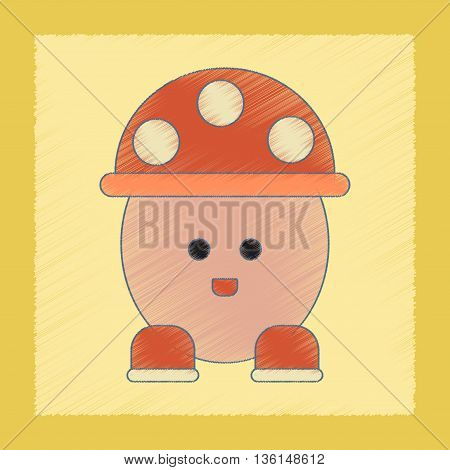 flat shading style icon Kids toy mushroom