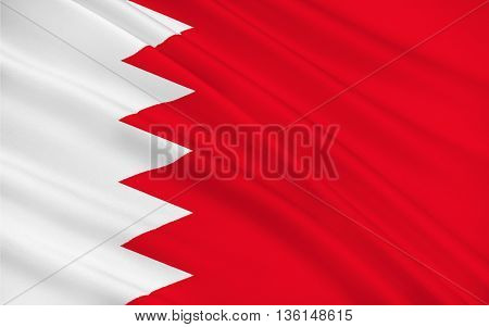 Flag of Bahrain officially the Kingdom of Bahrain is an island country situated near the western shores of the Persian Gulf in the Middle East. 3d illustration