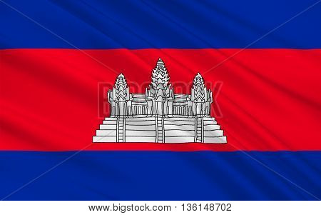 Flag of Cambodia officially known as the Kingdom of Cambodia and once known as the Khmer Empire is a country located in the southern portion of the Indochina Peninsula in Southeast Asia. 3D illustration