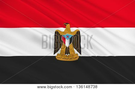 Flag of People's Democratic Republic of Yemen also referred to as South Yemen Democratic Yemen or Yemen (Aden) aka South Arabian Federation. 3D illustration