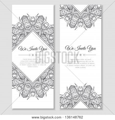 Set of cards or banners with mandala zentangle ornamental frame. Indian mehndi east style. Good for wedding invitation decoration greeting poster birthday mother's day flyer. Vector illustration
