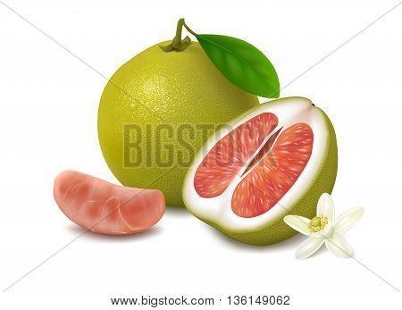 Green pomelo fruit with red pulp on white background