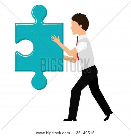 Piece of game concept represented by puzzle and businessman icon. isolated and flat illustration
