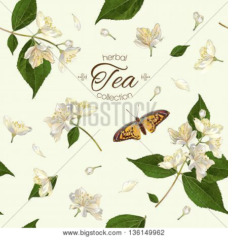 Vector herbal tea seamless pattern with jasmine flowers. Background design for tea, aromatherapy, herbal cosmetics, essential oils, health care products. Best for fabric, textile, wrapping paper.