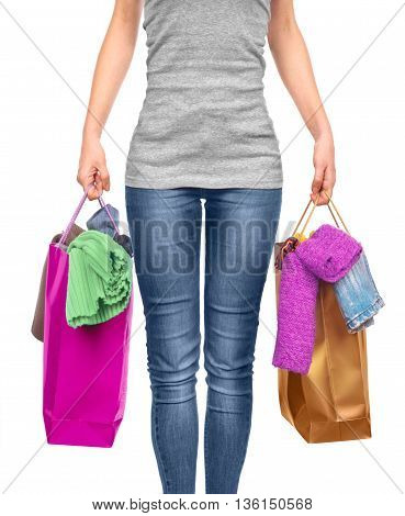 Woman with shopping bag on white. vector illustration.