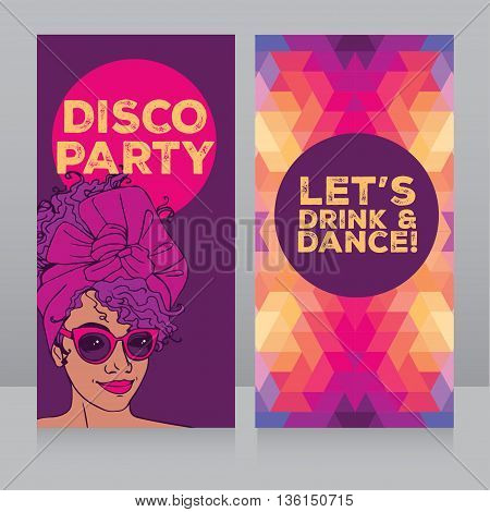 template for disco party with beautiful african american girl, vector illustration